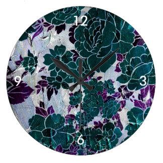 Dark Turquoise Purple Rose Texure Large Clock