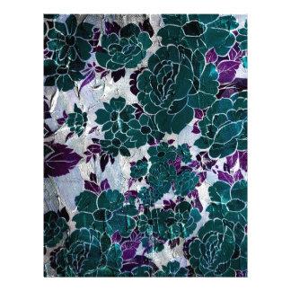 Dark Turquoise Purple Rose Texure Letterhead