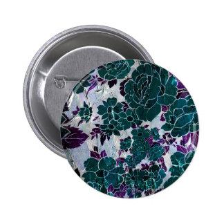 Dark Turquoise Purple Rose Texure Pinback Button