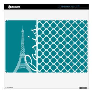 "Dark Turquoise Quatrefoil; Eiffel Tower, Paris 11"" MacBook Air Skin"