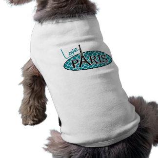 Dark Turquoise Quatrefoil; Eiffel Tower, Paris Doggie T-shirt