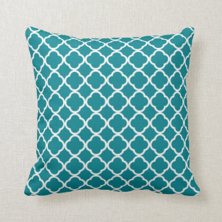Dark Turquoise Quatrefoil Pillow