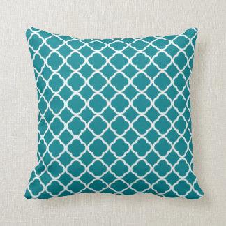 Dark Turquoise Quatrefoil Throw Pillow