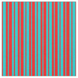 [ Thumbnail: Dark Turquoise & Red Colored Lines Fabric ]