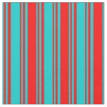 [ Thumbnail: Dark Turquoise & Red Colored Pattern Fabric ]
