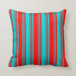 [ Thumbnail: Dark Turquoise & Red Colored Pattern Throw Pillow ]