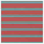 [ Thumbnail: Dark Turquoise & Red Striped/Lined Pattern Fabric ]
