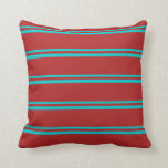 [ Thumbnail: Dark Turquoise & Red Striped/Lined Pattern Pillow ]