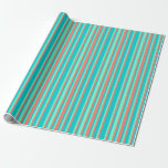 [ Thumbnail: Dark Turquoise, Salmon & Aquamarine Pattern Wrapping Paper ]