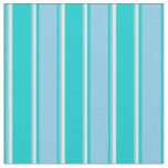 [ Thumbnail: Dark Turquoise, Sky Blue, and White Colored Lines Fabric ]