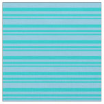[ Thumbnail: Dark Turquoise & Sky Blue Colored Stripes Pattern Fabric ]