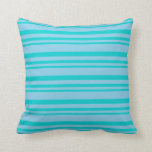 [ Thumbnail: Dark Turquoise & Sky Blue Colored Stripes Pattern Throw Pillow ]