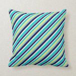 [ Thumbnail: Dark Turquoise, Tan, Blue, Black & White Colored Throw Pillow ]