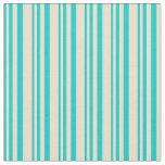 [ Thumbnail: Dark Turquoise & Tan Colored Striped Pattern Fabric ]