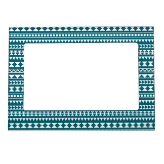 Dark Turquoise Tribal Aztec Pattern Magnetic Picture Frame