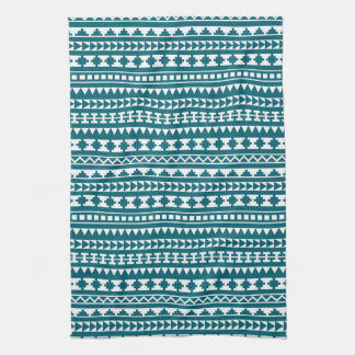 Amazing Dark Turquoise Tribal Aztec Pattern Towel