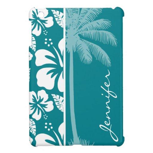 Dark Turquoise Tropical Hibiscus; Palm iPad Mini Covers