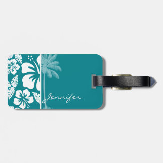 Dark Turquoise Tropical Hibiscus; Palm Luggage Tags