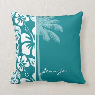 Dark Turquoise Tropical Hibiscus; Palm Throw Pillow