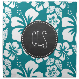 Dark Turquoise Tropical Hibiscus; Retro Chalk look Napkins