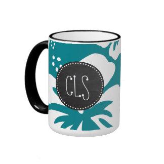 Dark Turquoise Tropical Hibiscus; Retro Chalk look Ringer Coffee Mug