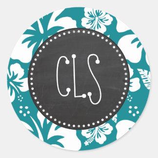 Dark Turquoise Tropical Hibiscus; Retro Chalk look Classic Round Sticker