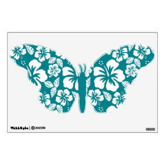 Dark Turquoise Tropical Hibiscus Wall Stickers
