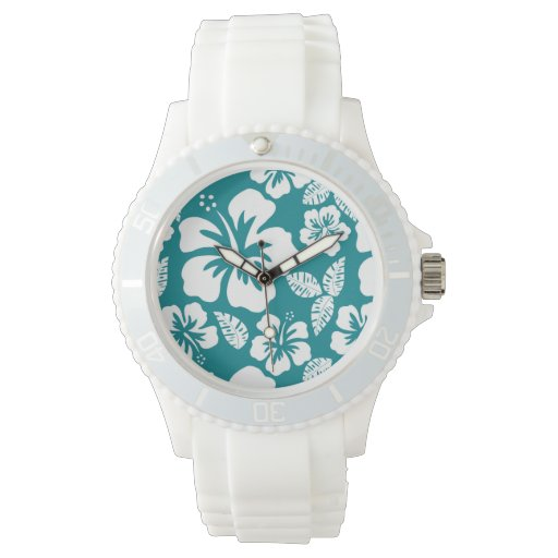 Dark Turquoise Tropical Hibiscus Wrist Watch