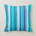 [ Thumbnail: Dark Turquoise, Turquoise & Dark Blue Lines Pillow ]