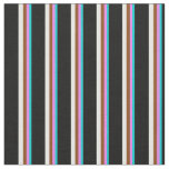 [ Thumbnail: Dark Turquoise, Violet, Brown, White & Black Fabric ]