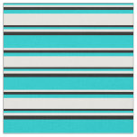 [ Thumbnail: Dark Turquoise, White, and Black Lines Fabric ]