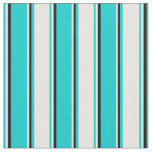 [ Thumbnail: Dark Turquoise, White, and Black Stripes Pattern Fabric ]