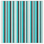 [ Thumbnail: Dark Turquoise, White & Black Lines Pattern Fabric ]