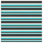 [ Thumbnail: Dark Turquoise, White & Black Pattern Fabric ]