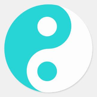 Dark Turquoise Yin Yang Symbol Classic Round Sticker