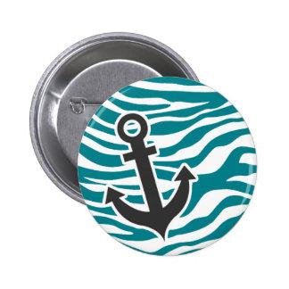 Dark Turquoise Zebra Stripes Anchor Pinback Button