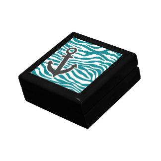 Dark Turquoise Zebra Stripes; Anchor Jewelry Boxes