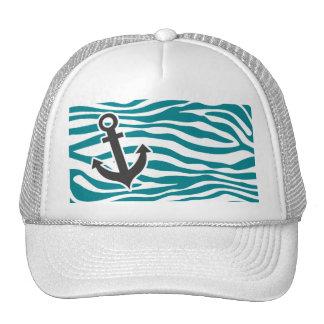 Dark Turquoise Zebra Stripes; Anchor Trucker Hat