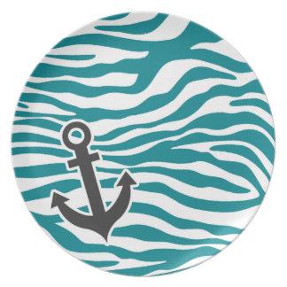 Dark Turquoise Zebra Stripes; Anchor Plate