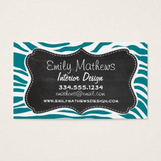 Dark Turquoise Zebra Stripes; Chalkboard Business Card
