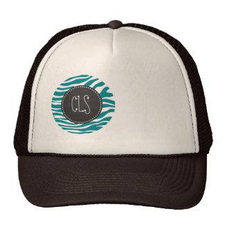 Dark Turquoise Zebra Stripes; Chalkboard Trucker Hats