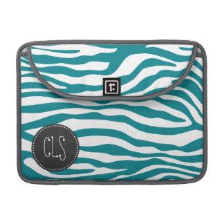 Dark Turquoise Zebra Stripes; Chalkboard Sleeve For MacBooks