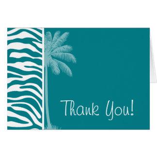 Dark Turquoise Zebra Stripes; Summer Palm Card