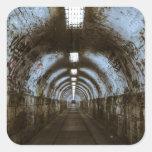Dark underground tunnel square sticker