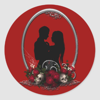 Dark Union Vampire Goth Wedding Classic Round Sticker