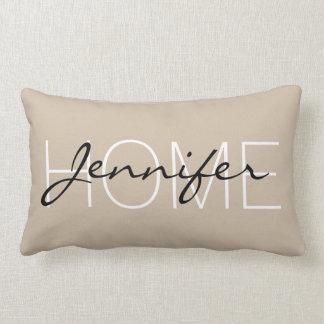Dark vanilla color home monogram lumbar pillow