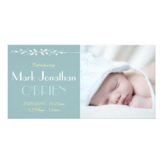 Dark Vintage Blue Birth Announcement Photo Card
