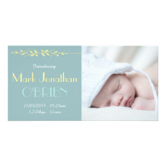 Photo Cards - Dark Vintage Blue Birth Announcement Photo Card