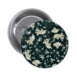 Dark vintage flower wallpaper pattern 2 inch round button