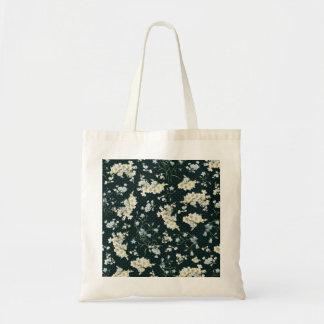 Dark vintage flower wallpaper pattern canvas bags